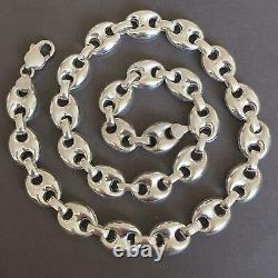 Mens Mariner Puffed Link Chain Necklaces 14mm 69GR 925 Silver Sterling 26Inch