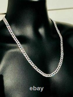 Mens Miami Cuban Link Chain Solid 925 Sterling Silver 25ct Man Made Diamonds 9mm