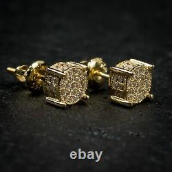 Mens Micro Pave Sterling Silver Gold Hip Hop Stud Iced Cz Screw Back Earrings