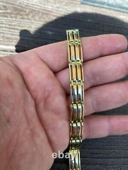 Mens Real 14k Gold Over 925 Sterling Silver Presidential Link Bracelet 10mm