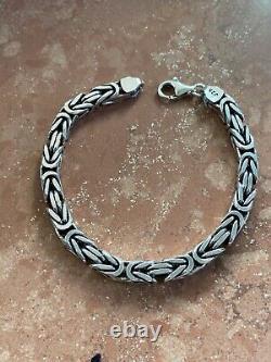 Mens Real Solid 925 Sterling Silver Byzantine Bracelet 6mm 35 Grams 8 Heavy