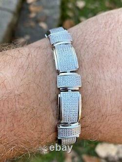 Mens Real Solid 925 Sterling Silver Iced HipHop Custom Flooded Out Bracelet 12mm
