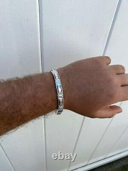 Mens Real Solid 925 Sterling Silver Presidential Custom Link Bracelet 9mm Wide