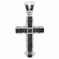 Mens Sterling Silver Black Diamond Statement Cross Pendant 3.15 Charm 1.39 CT