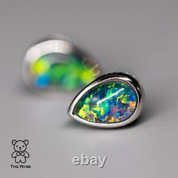 Minimalist Pear Shaped Australian Triplet Opal Earrings 925 Sterling Silver
