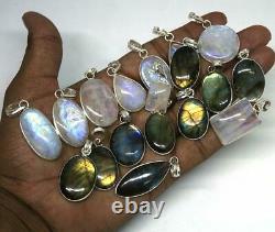 Moonstone Gemstone 20 Pcs Wholesale Lots 925 Sterling Silver Plated Pendant Lots