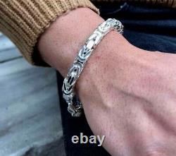 NEW Mens Kings Byzantine Chain Bracelet 8mm 75gr 9.05Inch 925 Sterling Silver