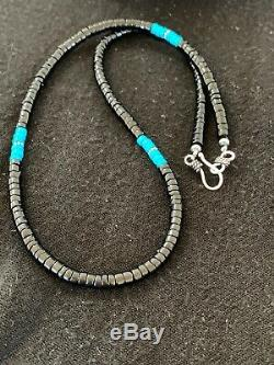 Native American Blue Turquoise Heishi Onyx Sterling Silver Men's Necklace 8823