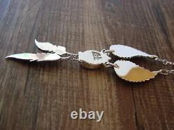 Native American Jewelry Opal Feather Sterling Silver Necklace by V. Betone
