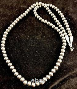 Native American Navajo Pearls 4 mm Sterling Silver Bead Necklace 21 Sale