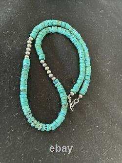 Natural Blue Turquoise Heishi Sterling Silver Necklace Navajo Pearls 7mm 1200