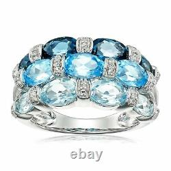Natural Mixed Blue Topaz Ring with Diamonds in Sterling Silver