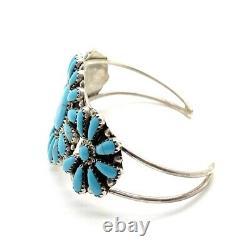 Navajo Handmade Sterling Silver Turquoise Cluster Bracelet R Williams