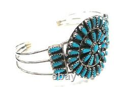 Navajo Handmade Turquoise Cluster Sterling Silver Cuff Bracelet Violet Begay