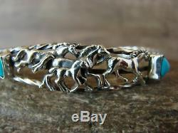 Navajo Indian Jewelry Sterling Silver Turquoise Horse Cuff by Roberta Begay