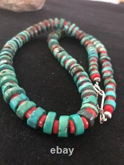 Navajo Mens Native American Sterling Silver Heishi Turquoise Coral Necklace 8506