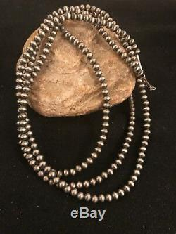 Navajo Pearls Sterling Silver 5mm Beads Necklace 48 1033