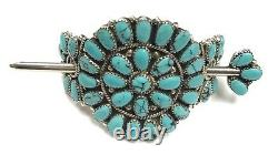 Navajo stabilize Turquoise Sterling Silver Hair Barrette Juliana Williams