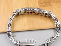 New 925 Sterling Silver 12.5mm Vajra with Byzantine Link Chain Bracelet 8.26inch