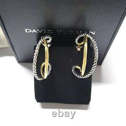 New David Yurman Crossover Collection Hoop Sterling Silver With gold Earrings