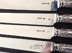 Odiot Antique French Sterling Silver Dessert/Entremet knife Set 12/ps ROYAL
