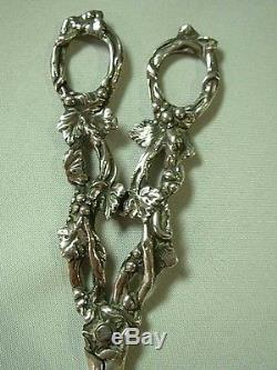 Ornate Antique Heavy Solid Sterling Silver Grape Vine Scissors Shears 102gr