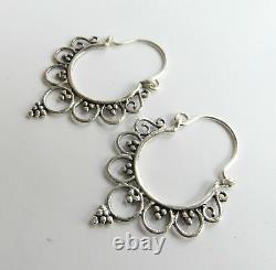Pair Of Sterling Silver 925 Tribal Thai Dangly Earrings! New