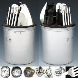 RARE Antique French Sterling Silver Officer's or Travel Set Flatware, Pot, Cup
