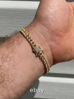 REAL 14k Gold Over 925 Sterling Silver 6mm Iced Miami Cuban Bracelet Men Ladies