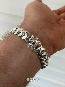 REAL 925 Sterling Silver 12mm HEAVY Miami Cuban Box Lock Chain Or Bracelet ITALY