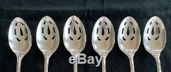 REED & BARTON FRANCIS I 1st STERLING SILVER 6 SLOTTED SERVING SPOONS 8 3/8