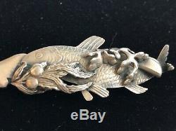 Rare George Shiebler Sterling Silver Octopus Figureal Sardine Fork C. 1880 2551