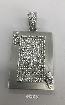 Real 925 Sterling Silver Ace of Spades Poker Card Charm Pendant