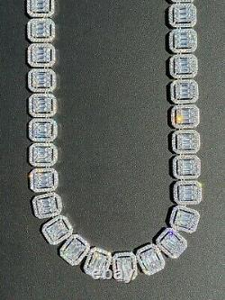 Real 925 Sterling Silver Baguette Link Chain 16mm Men's Diamond Necklace Choker
