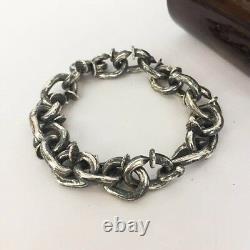 Real 925 Sterling Silver Bracelet Crow's Head Hook Nail Link