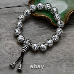 Real 925 Sterling Silver Bracelet Link Chain Beads Lection Om-Mani-Padme-Hum Men