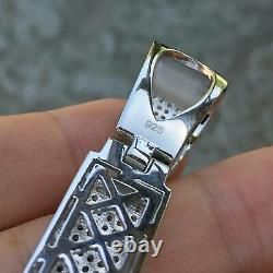 Real 925 Sterling Silver Cross Big Hip Hop Pendant Iced Flooded Micro Pave 3.25