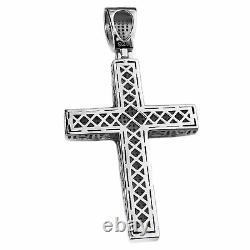 Real 925 Sterling Silver Iced Cross Hip Hop Pendant Flooded Out Micro Pave 2 in