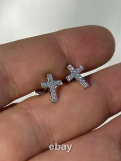 Real 925 Sterling Silver Men Ladies Cross Earrings Screw-back Stud Round Diamond
