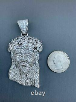 Real Mens Solid 925 Sterling Silver Jesus Piece Flooded Out Pendant Really Iced