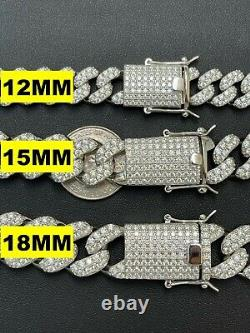 Real Miami Cuban Link Chain Iced Diamond Out Solid 925 Sterling Silver Necklace