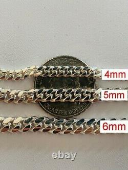 Real Miami Cuban Link Chain Or Bracelet Solid 925 Sterling Silver Box Lock ITALY