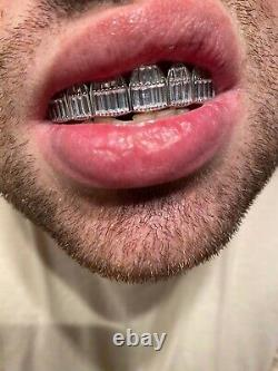 Real Solid 925 Sterling Silver Grillz Baguette Iced Grills Top Or Bottom Teeth