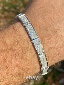 Real Solid 925 Sterling Silver Mens Iced Flooded Out Bracelet Diamond Hip Hop