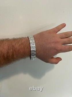 Real Solid 925 Sterling Silver Mens Nugget Bracelet Heavy Hip Hop 8mm 12mm 16mm
