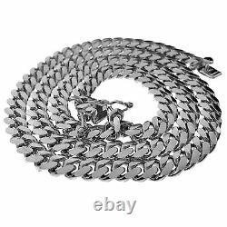 Real Solid 925 Sterling Silver Miami Cuban Chain Italy Necklace Choker 6MM 18