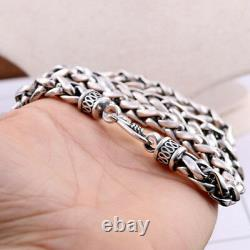 Real Solid 925 Sterling Silver Necklace Braided Chain Men 20 26