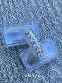 Real Solid Hip Hop 925 Sterling Silver Grillz Baguette Diamond Iced Grills Set