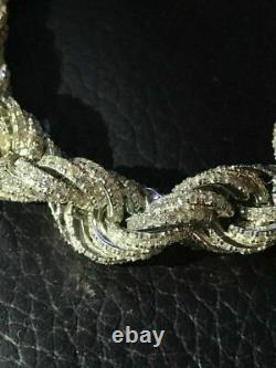 Real Solid Sterling Silver Men's Rope Chain Thick 12mm Icy Diamond Hip Hop ICED