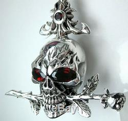 Red Eye Skull & Rose Tattoo Sterling Silver Mens Pendant Skull Necklace Jewelry